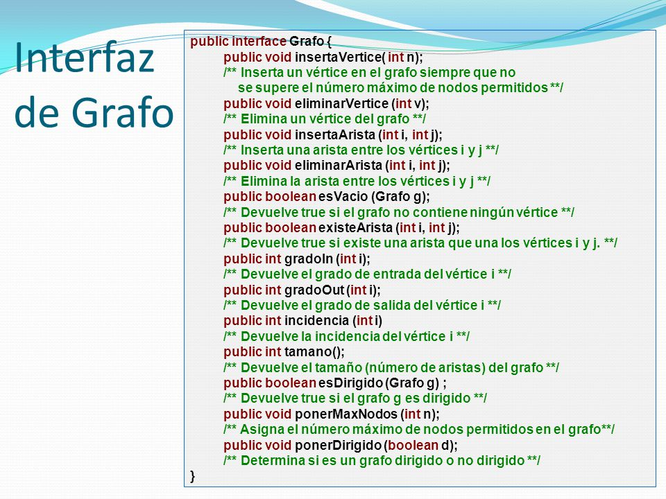 Interfaz de Grafo public interface Grafo {