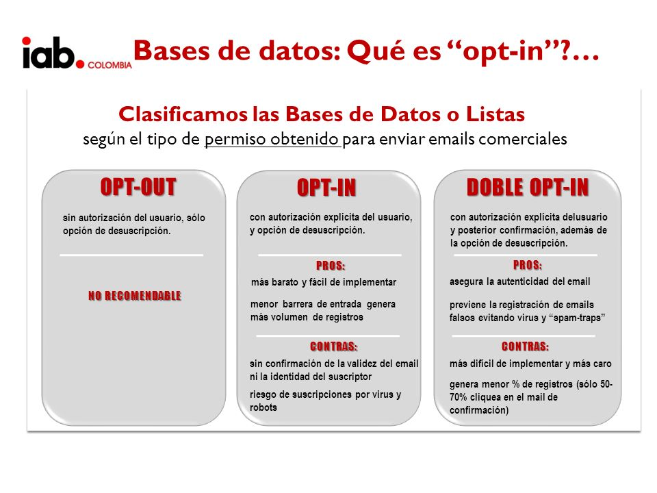 Bases de datos: Qué es opt-in …