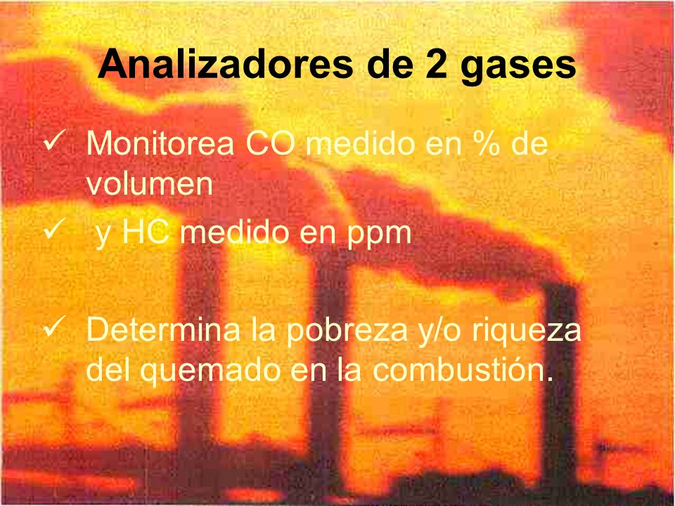 Analizadores de 2 gases Monitorea CO medido en % de volumen