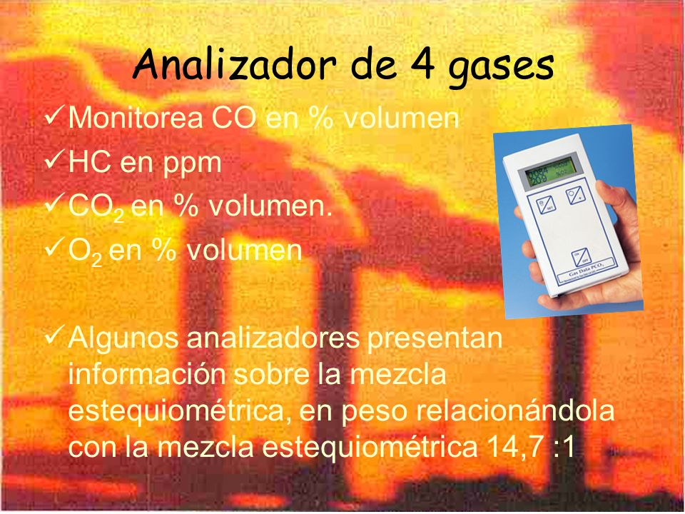 Analizador de 4 gases Monitorea CO en % volumen HC en ppm