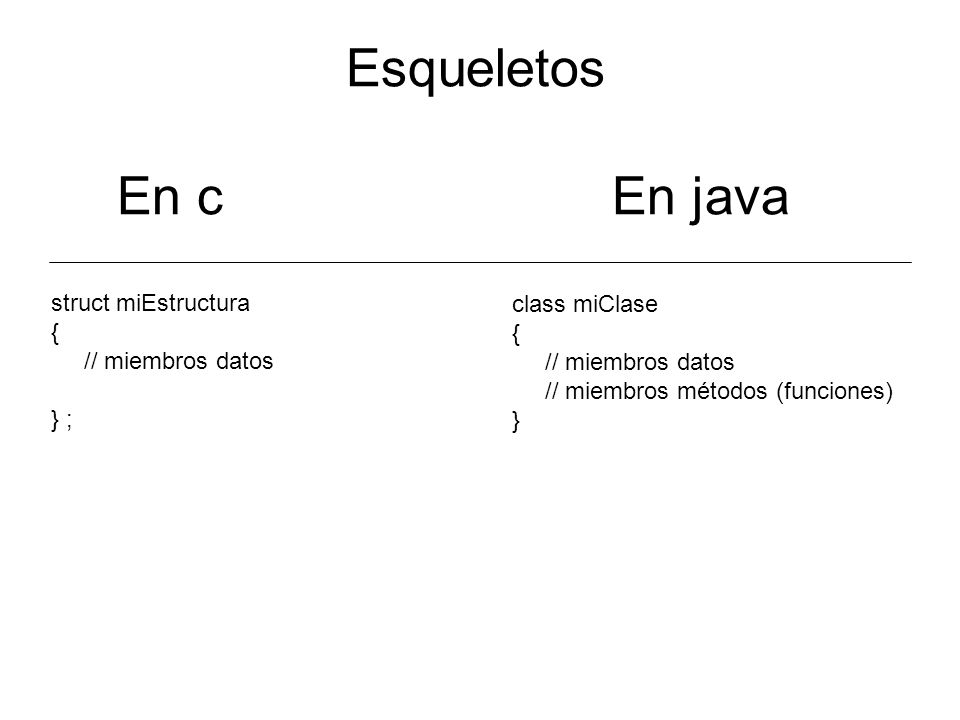 Esqueletos En c En java struct miEstructura class miClase { {