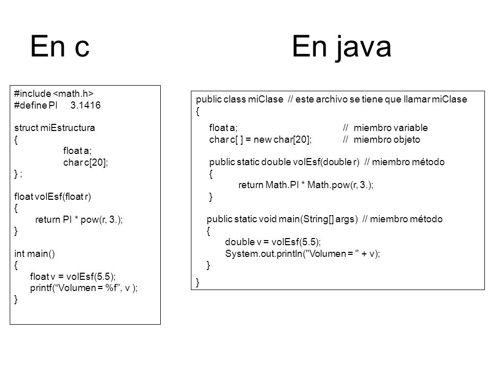 En c En java #include <math.h> #define PI