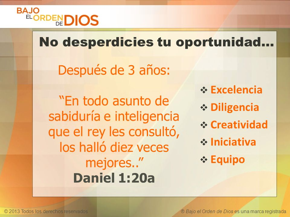 No desperdicies tu oportunidad…