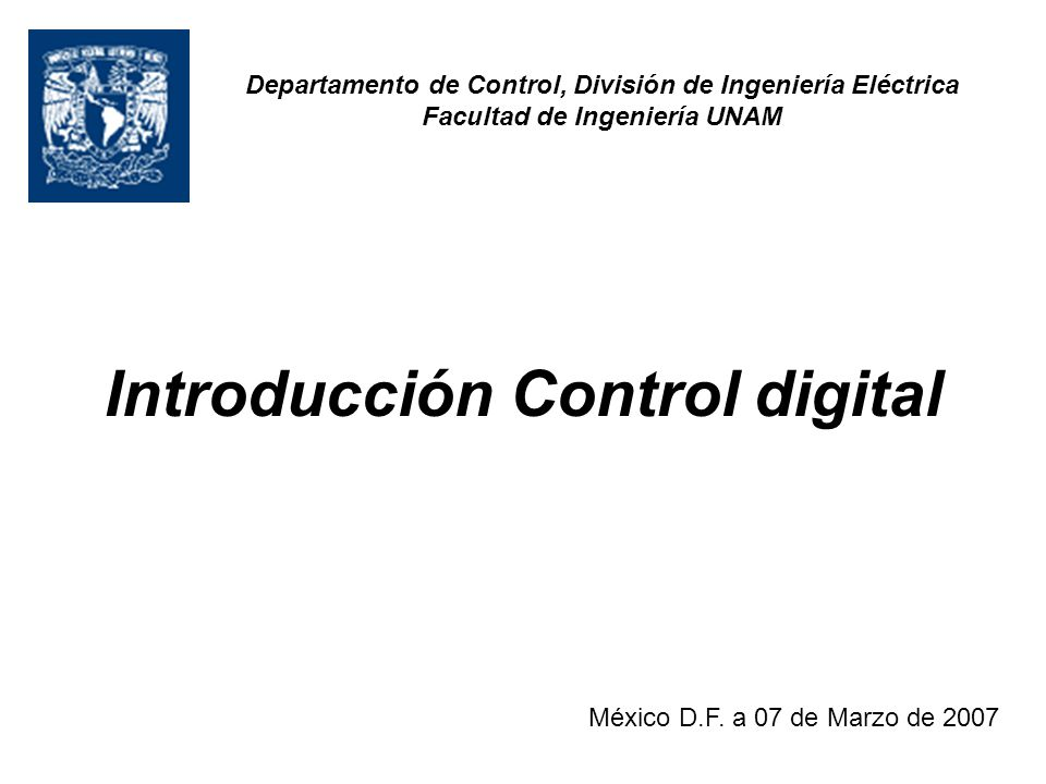 Introducción Control digital