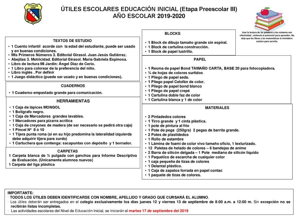Utiles Escolares Educacion Inicial Etapa Preescolar Iii Ppt