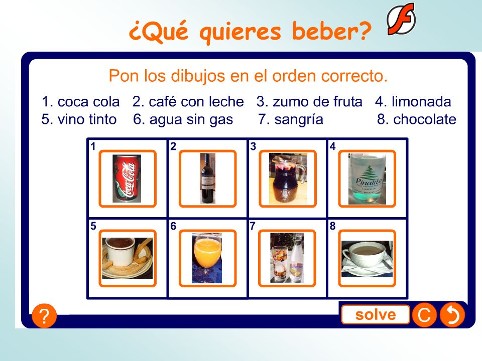 ¿Qué quieres beber Pupils match names of drinks to images.