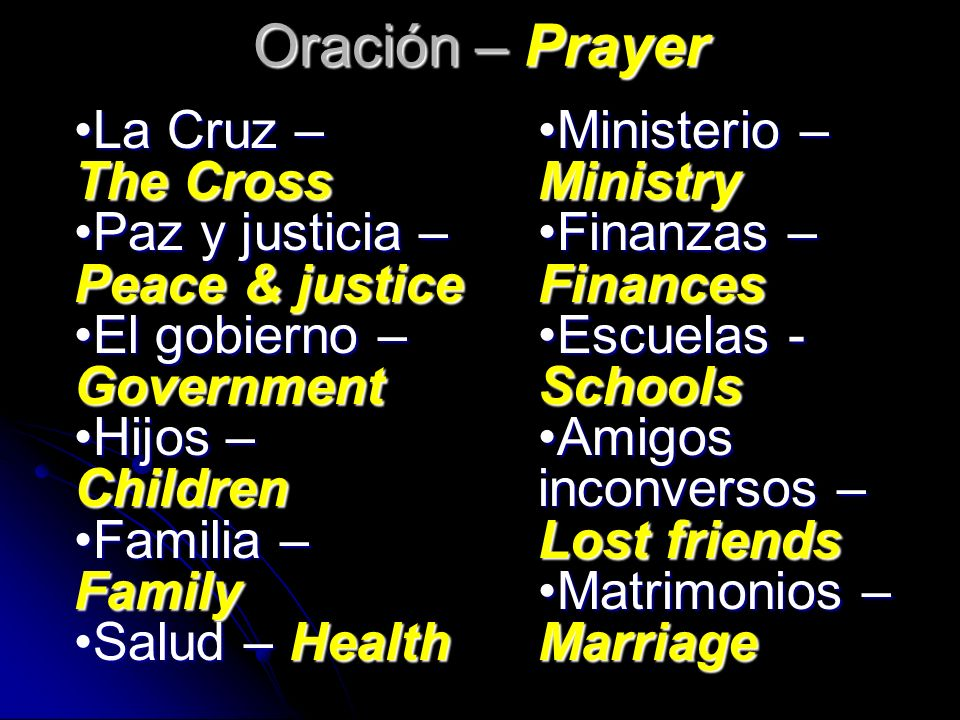 Oración – Prayer La Cruz – The Cross Paz y justicia – Peace & justice
