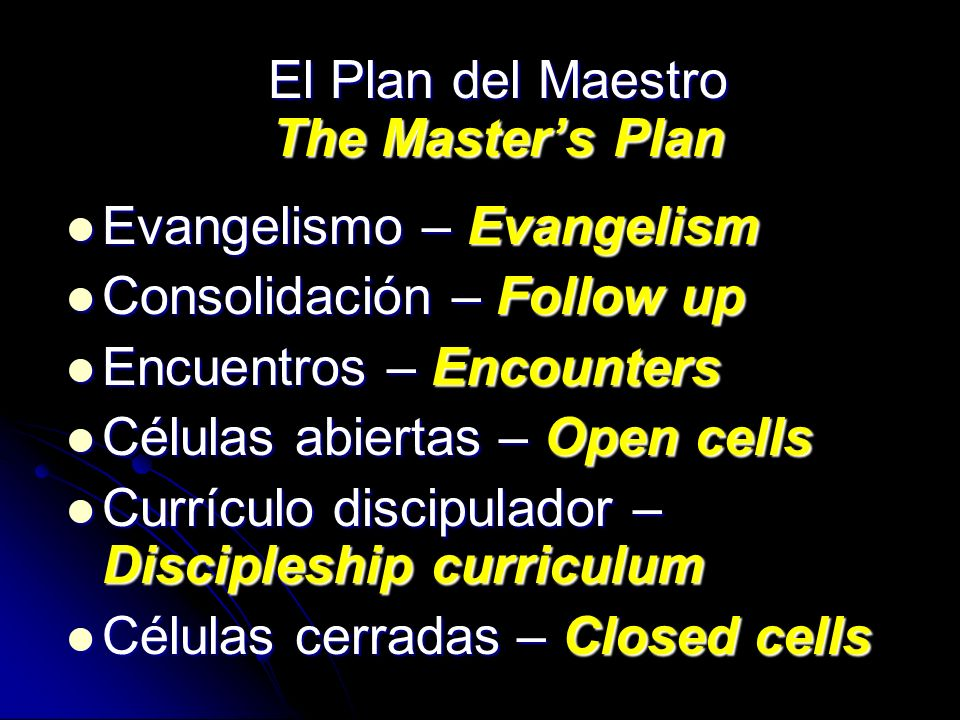 El Plan del Maestro The Master's Plan