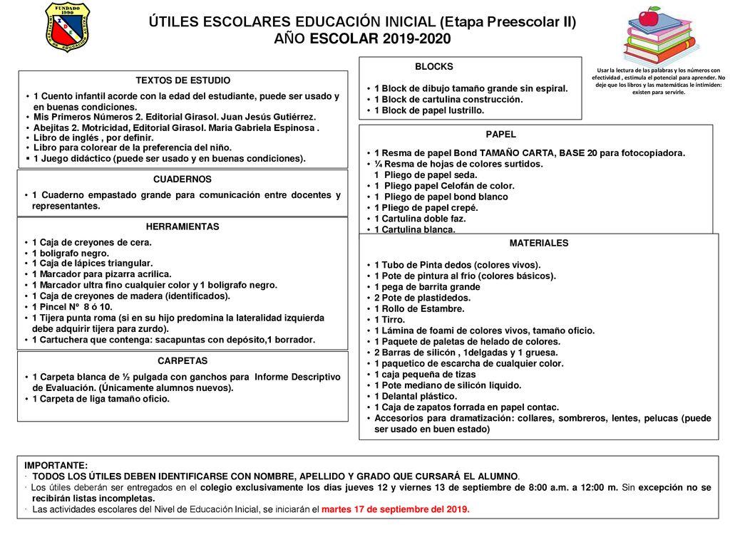 Utiles Escolares Educacion Inicial Etapa Preescolar Ii Ppt