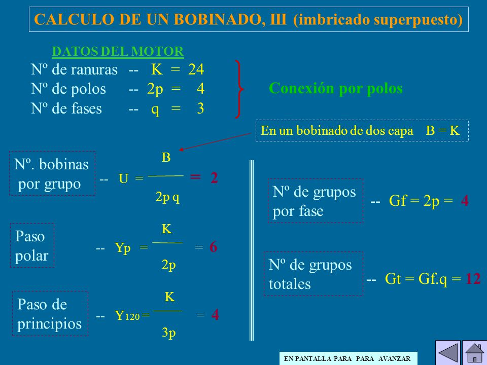 CALCULO DE UN BOBINADO, III (imbricado superpuesto)