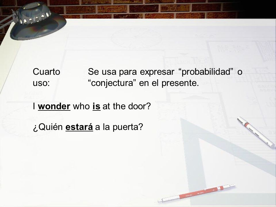Cuarto uso: Se usa para expresar probabilidad o conjectura en el presente. I wonder who is at the door