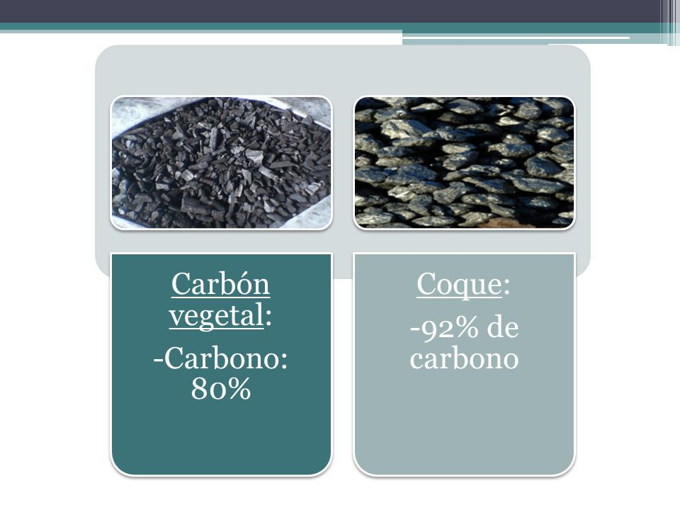 -Carbono: 80% Carbón vegetal: -92% de carbono Coque: