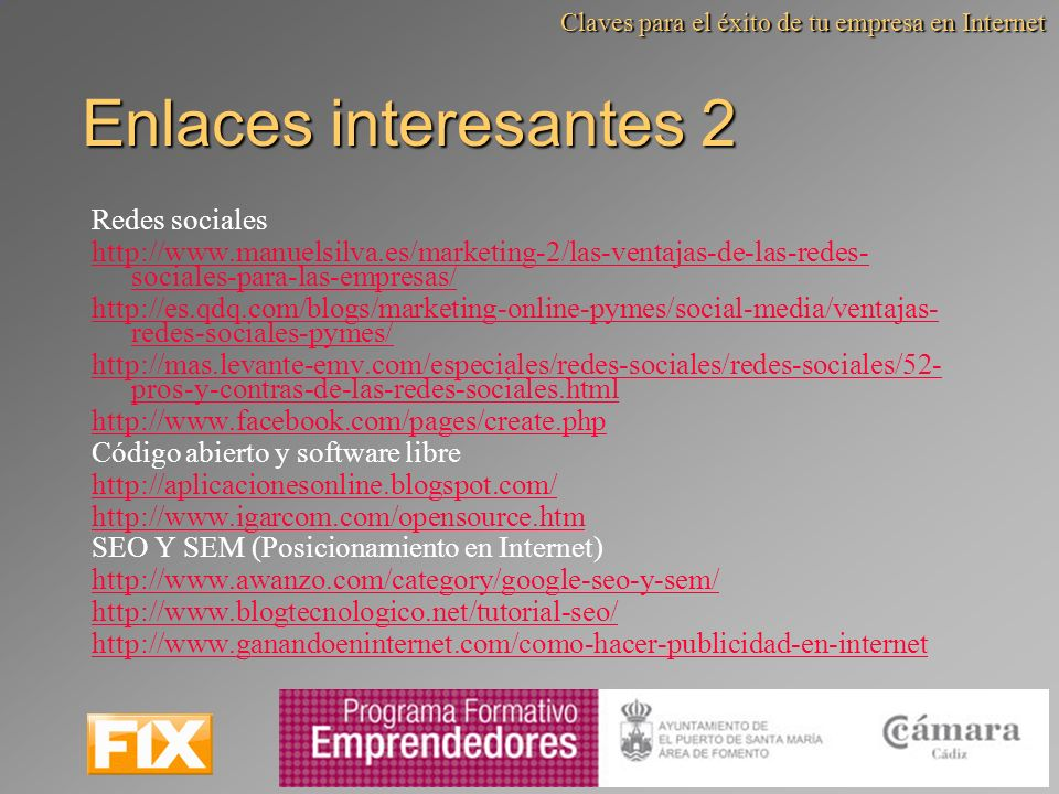 Enlaces interesantes 2 Redes sociales