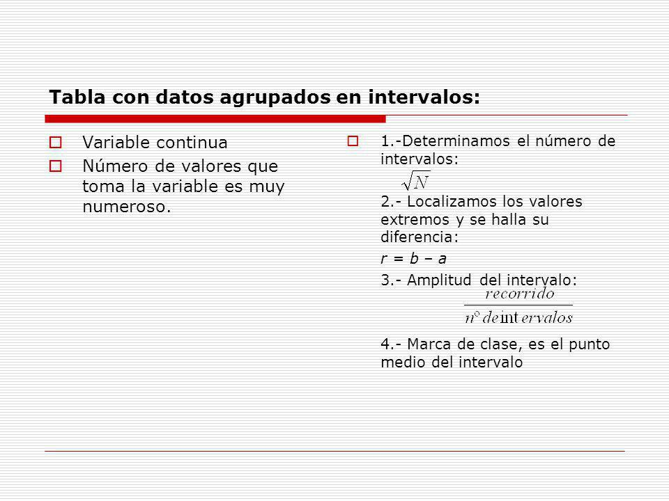 Tabla con datos agrupados en intervalos: