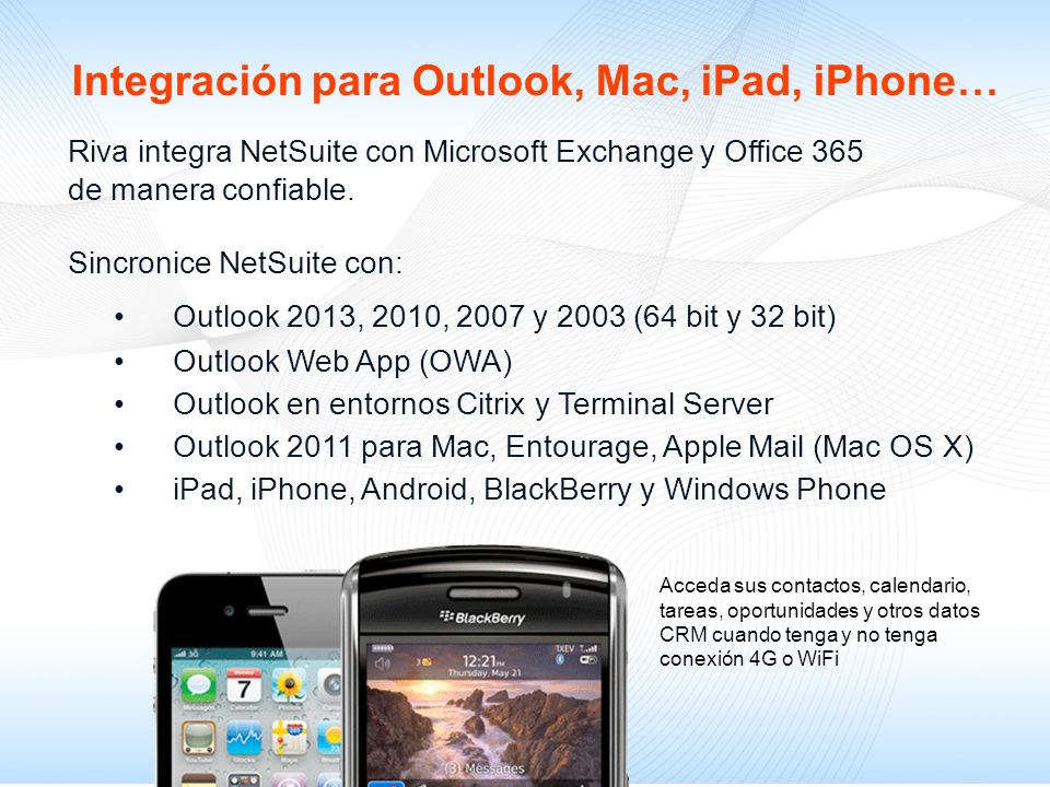 Integración para Outlook, Mac, iPad, iPhone…
