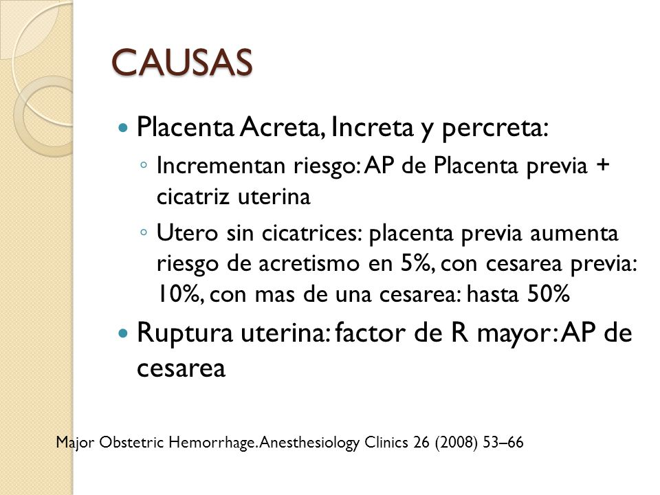 CAUSAS Placenta Acreta, Increta y percreta: