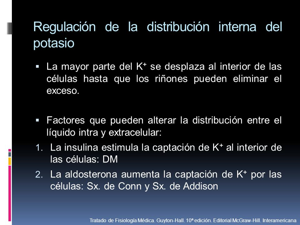 Regulación de la distribución interna del potasio