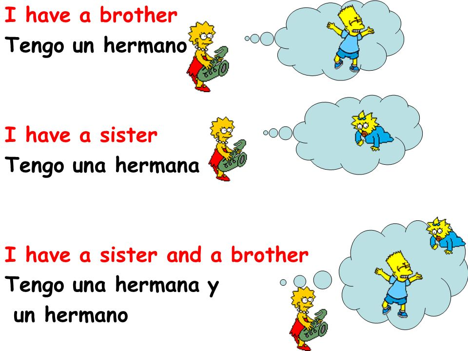 I have a brother Tengo un hermano I have a sister Tengo una hermana I have a sister and a brother Tengo una hermana y un hermano
