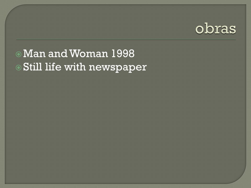 obras Man and Woman 1998 Still life with newspaper