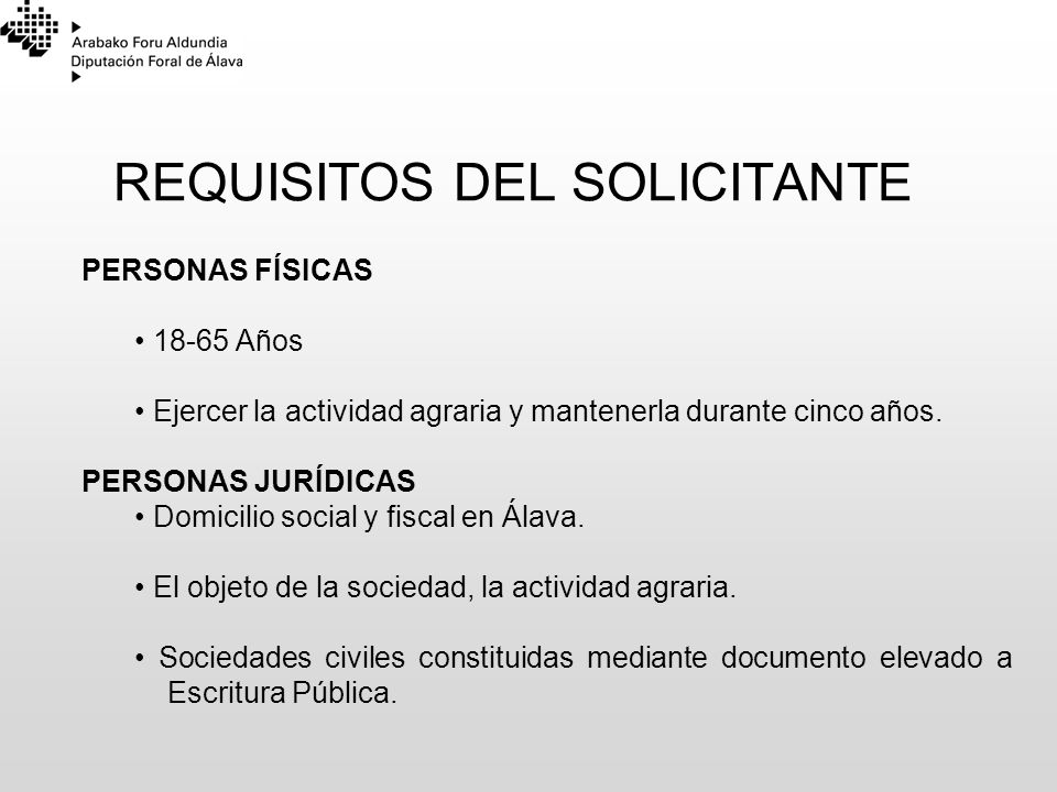 REQUISITOS DEL SOLICITANTE