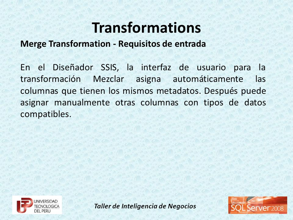 Transformations Merge Transformation - Requisitos de entrada