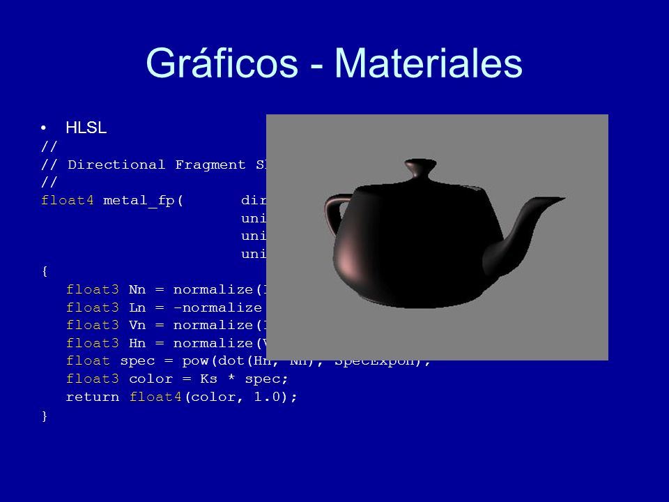 Gráficos - Materiales HLSL // // Directional Fragment Shader