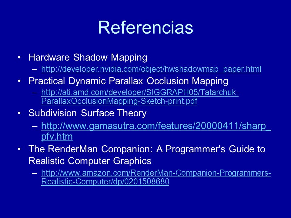 Referencias Hardware Shadow Mapping