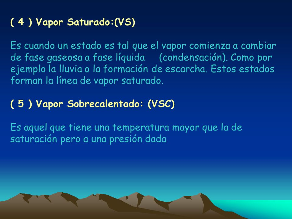 ( 4 ) Vapor Saturado:(VS)