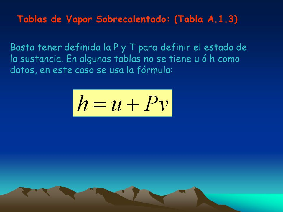 Tablas de Vapor Sobrecalentado: (Tabla A.1.3)