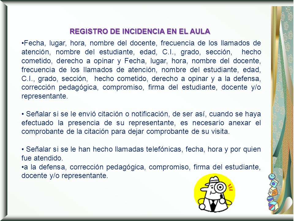 REGISTRO DE INCIDENCIA EN EL AULA