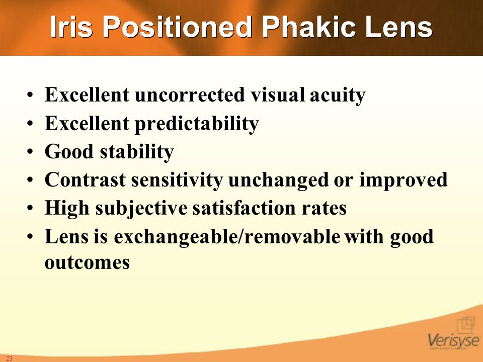 Iris Positioned Phakic Lens