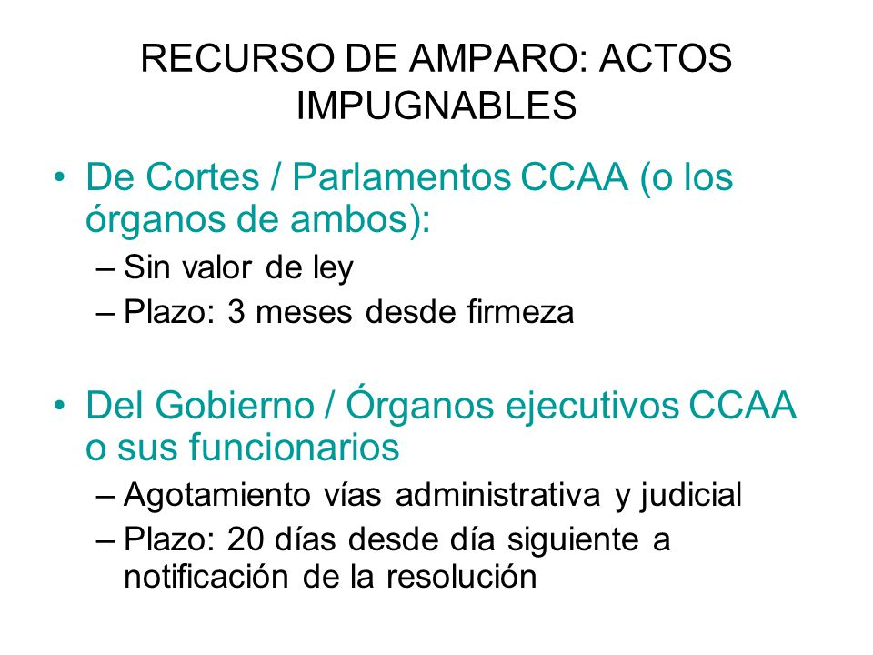 RECURSO DE AMPARO: ACTOS IMPUGNABLES