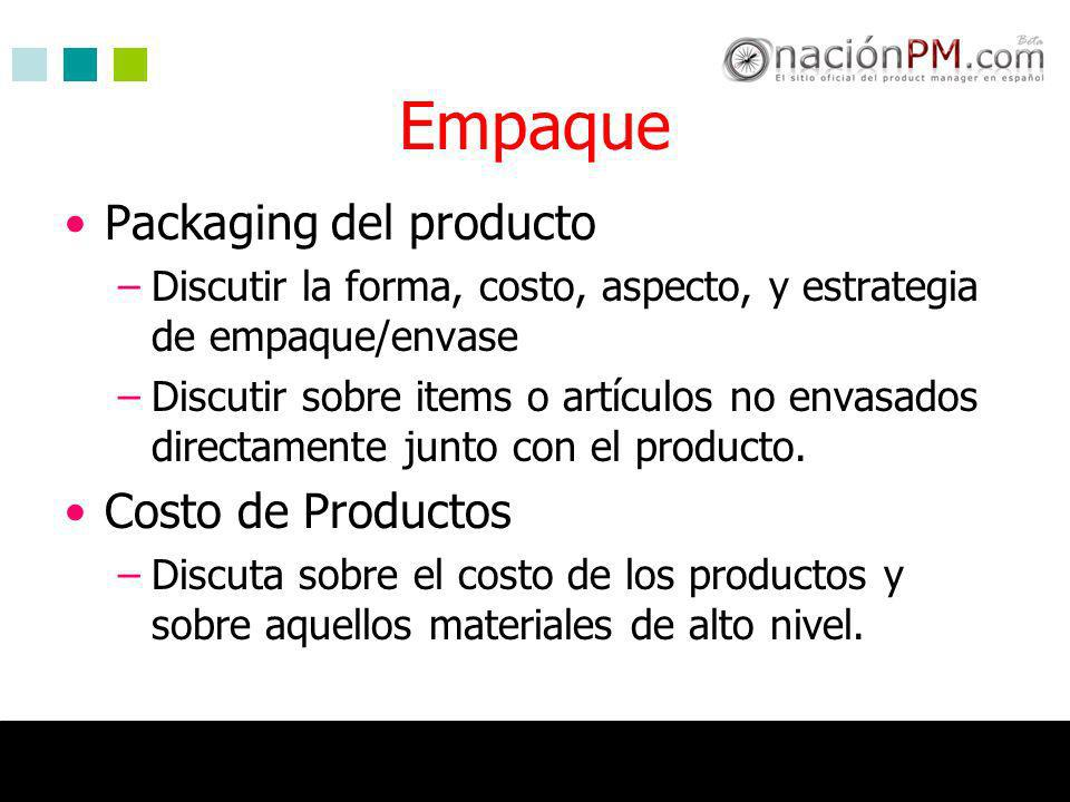 Empaque Packaging del producto Costo de Productos