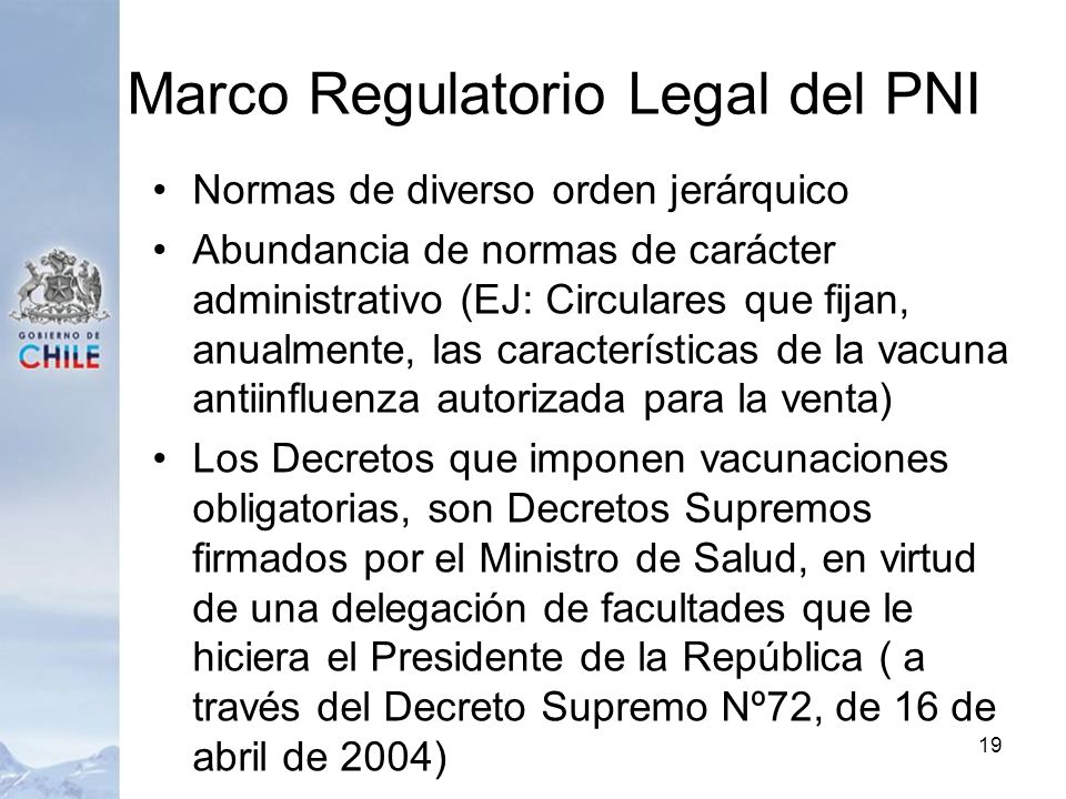 Marco Regulatorio Legal del PNI