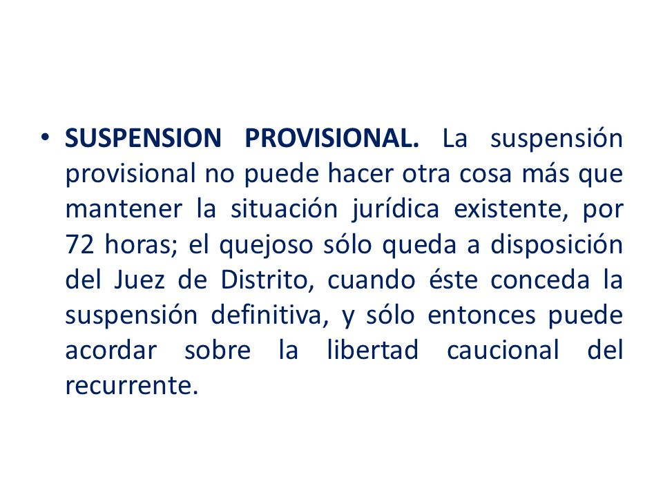 SUSPENSION PROVISIONAL
