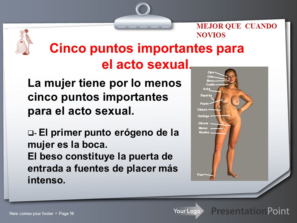 Cinco puntos importantes para el acto sexual.