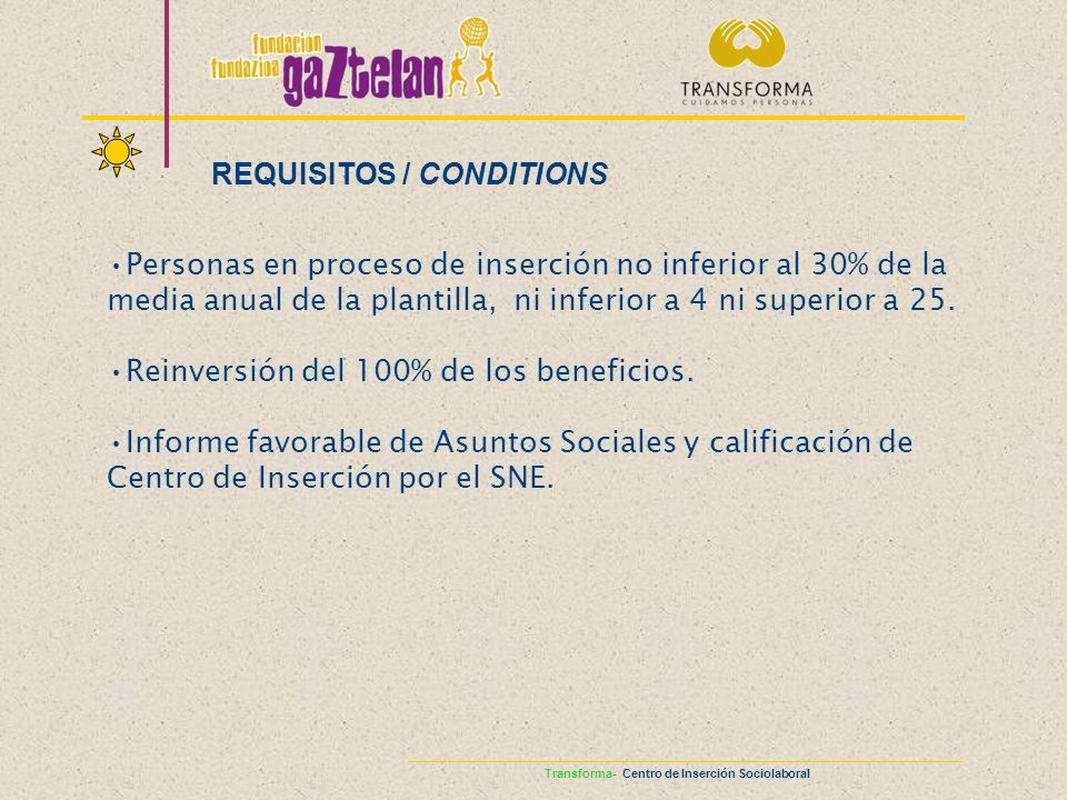 REQUISITOS / CONDITIONS