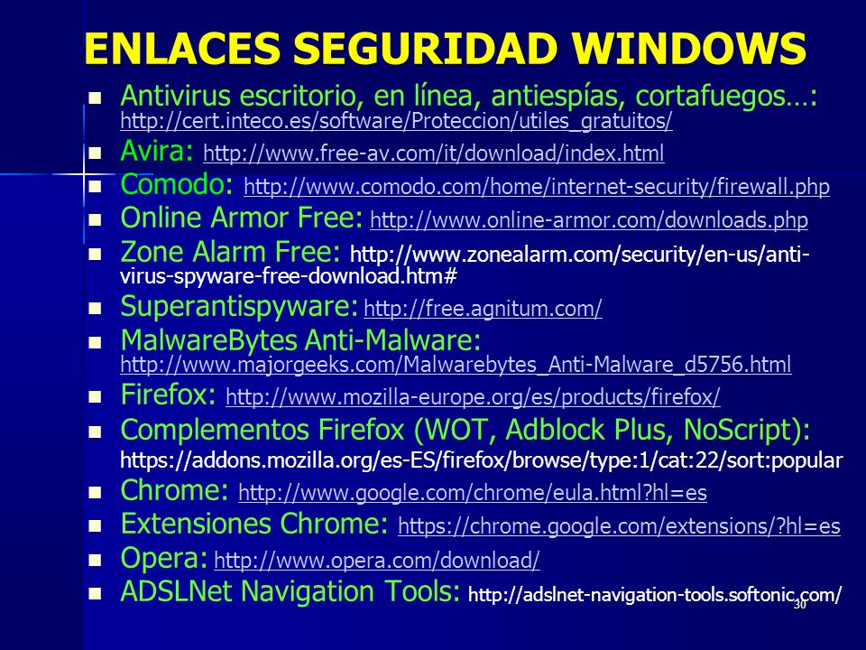 ENLACES SEGURIDAD WINDOWS