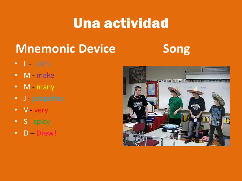 Una actividad Mnemonic Device Song L - Let's M - make M - many