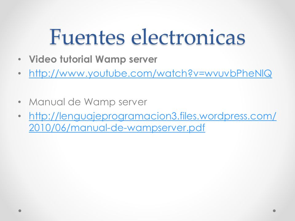 Fuentes electronicas Video tutorial Wamp server