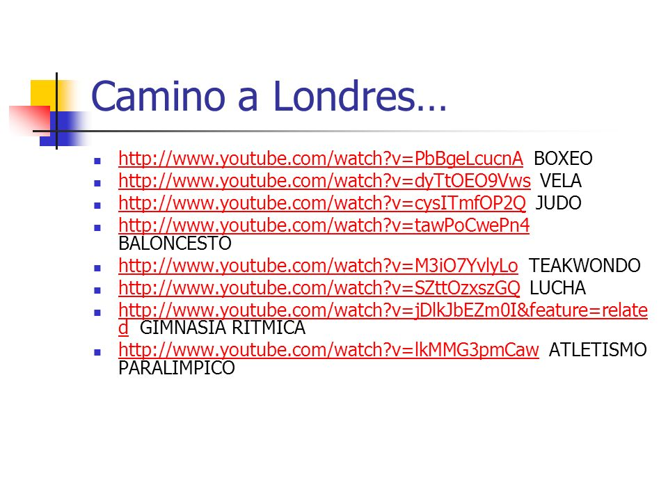 Camino a Londres… http://www.youtube.com/watch v=PbBgeLcucnA BOXEO