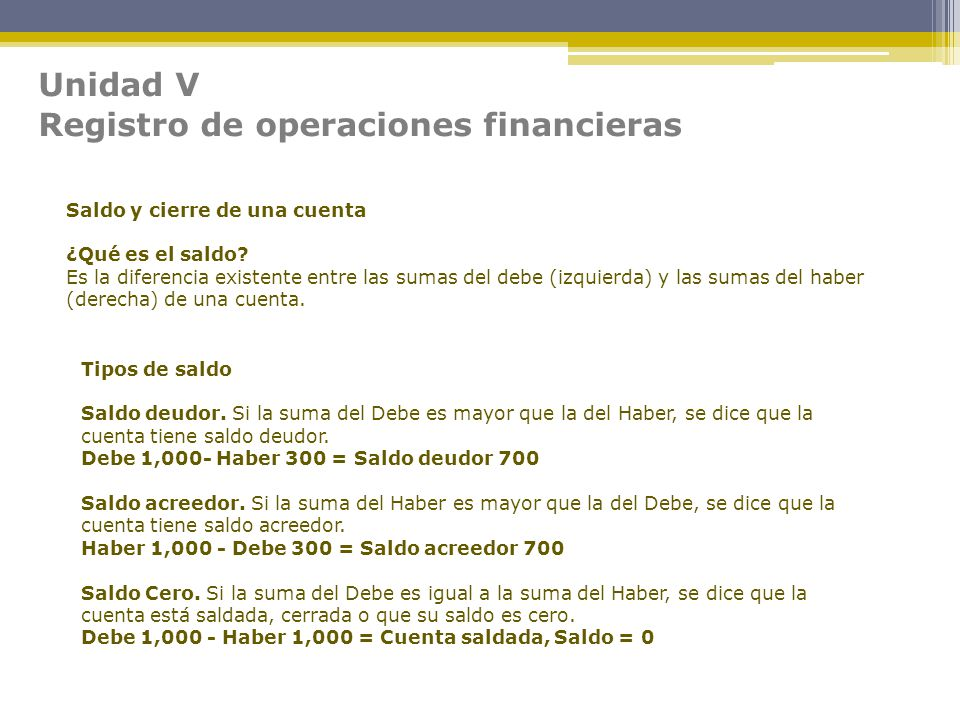 Registro de operaciones financieras