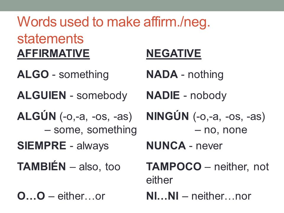 Words used to make affirm./neg. statements