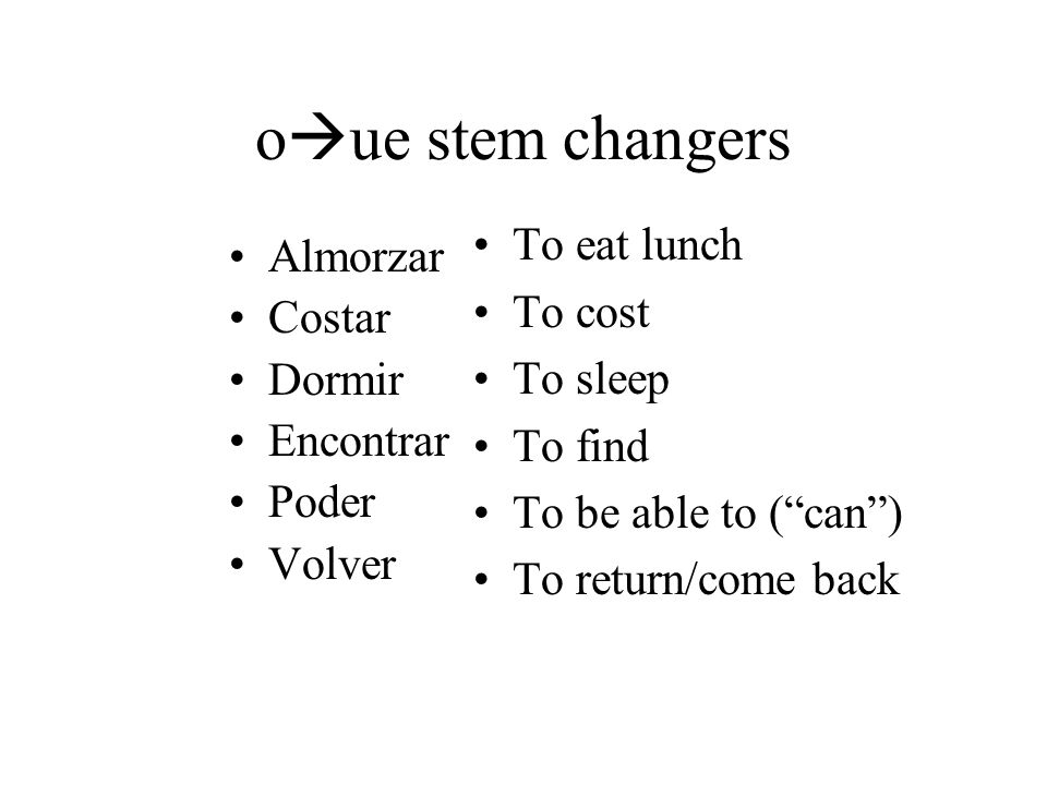 oue stem changers To eat lunch Almorzar To cost Costar To sleep