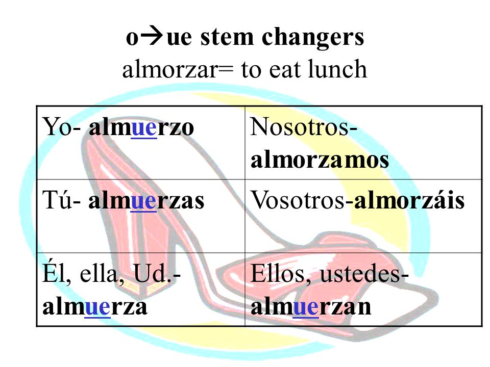 oue stem changers almorzar= to eat lunch
