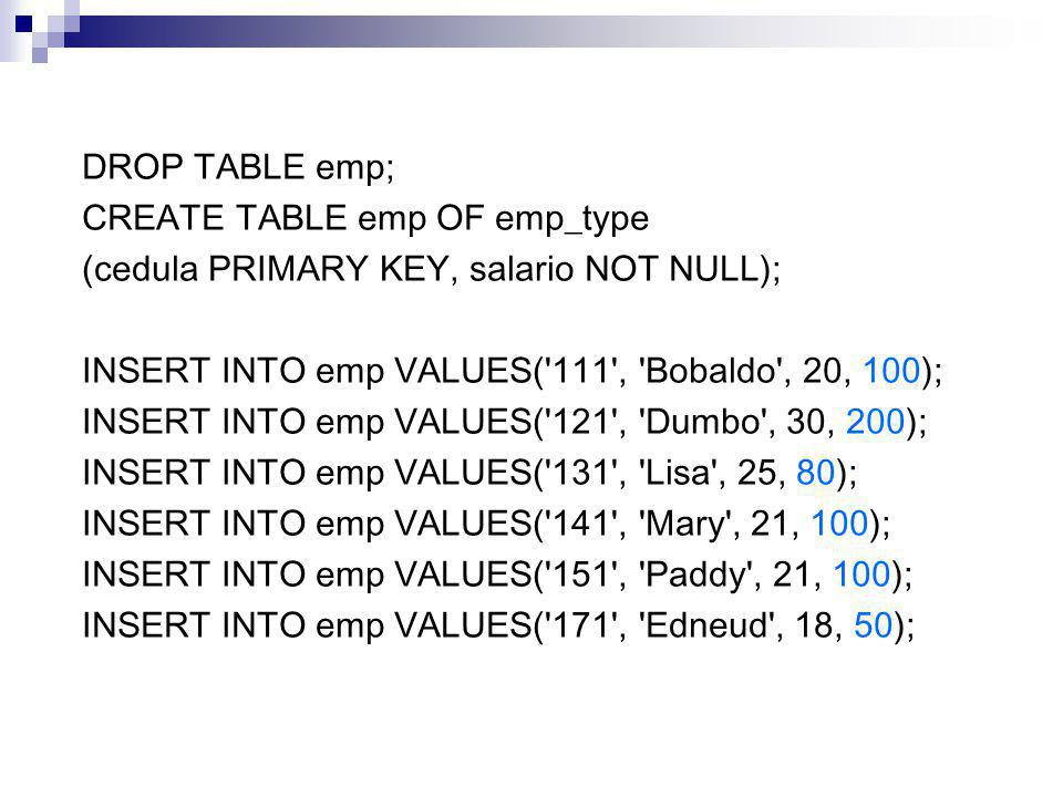 DROP TABLE emp; CREATE TABLE emp OF emp_type. (cedula PRIMARY KEY, salario NOT NULL); INSERT INTO emp VALUES( 111 , Bobaldo , 20, 100);