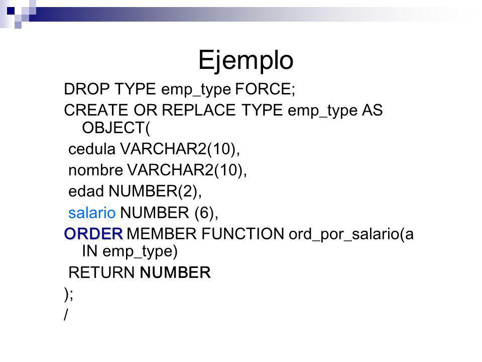 Ejemplo DROP TYPE emp_type FORCE;