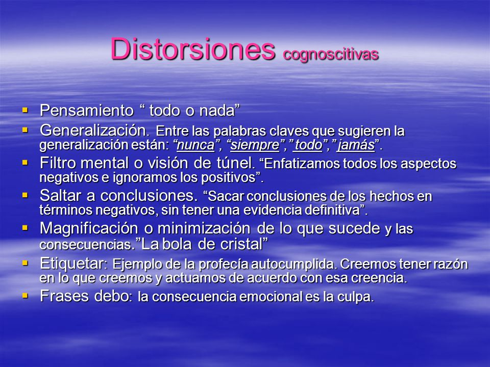 Distorsiones cognoscitivas