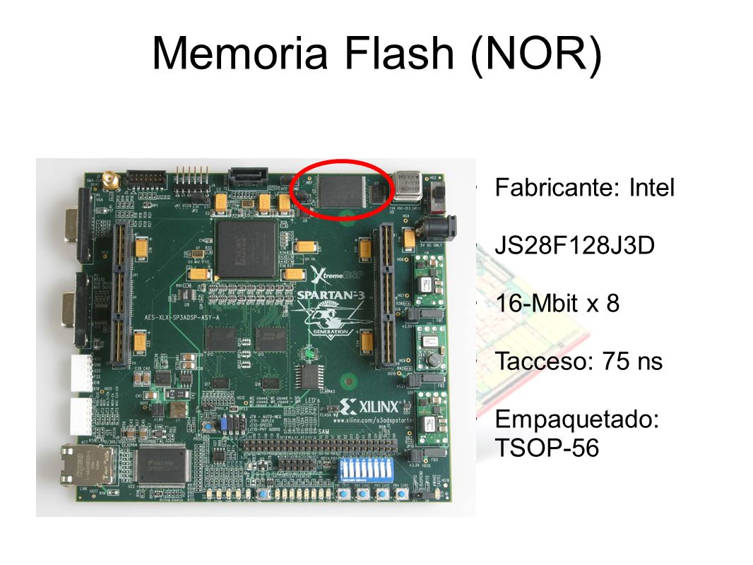 Memoria Flash (NOR) Fabricante: Intel JS28F128J3D 16-Mbit x 8