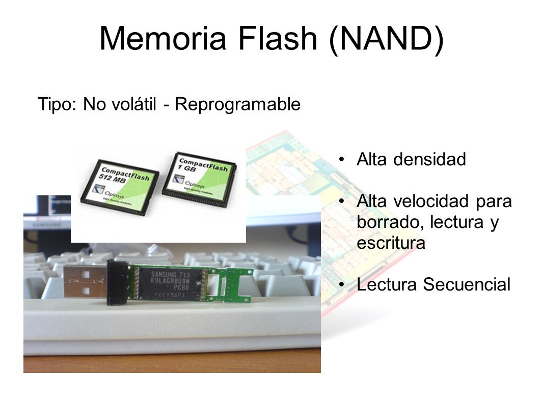 Memoria Flash (NAND) Tipo: No volátil - Reprogramable Alta densidad